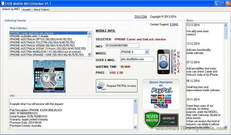 CIUX Mobile IMEI Unlocker 1 1 Free download
